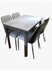 岩石灰陶瓷玻璃開合餐檯連四椅