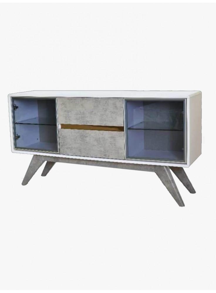 亮光白間水泥灰色掩門餐邊櫃