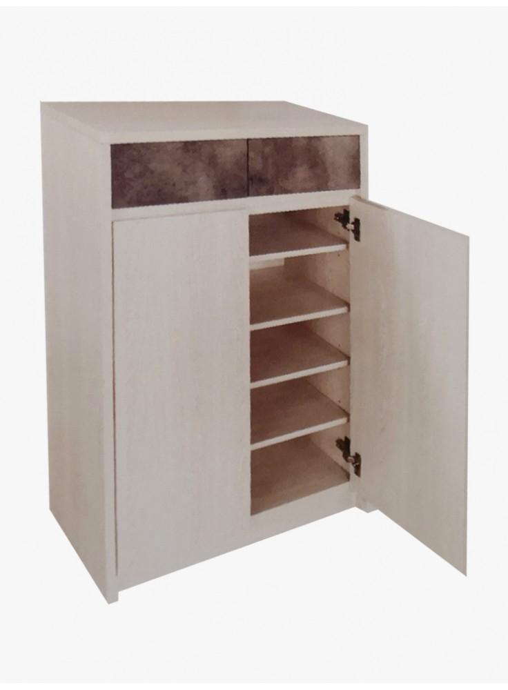 32寸樟木色配灰石紋鞋櫃